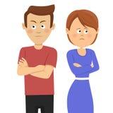 Unga olyckliga par som har äktenskapliga problem eller motsättninganseende med korsade armar royaltyfri illustrationer