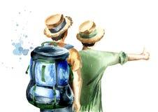 Unga par av fotvandrare, liftare som isoleras på vit bakgrund Dragen illustration för vattenfärg hand stock illustrationer