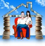 Unga par för pengarutgångspunkt. .with i den! Fotografering för Bildbyråer