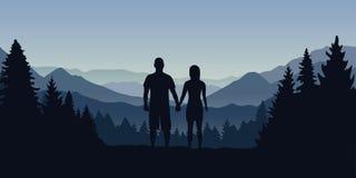 Unga par i skogen ser in i avståndet på ett berglandskap stock illustrationer