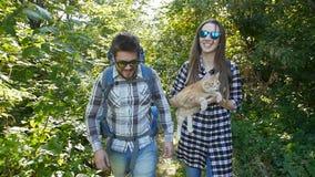 Unga par med deras katt med ryggsäckar i skogloppet och fotvandrabegreppet lager videofilmer