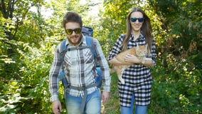 Unga par med deras katt med ryggsäckar i skogloppet och fotvandrabegreppet arkivfilmer
