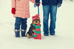 Unga par med hunden Royaltyfria Foton