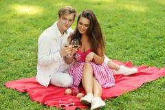 Unga par på picknicken Fotografering för Bildbyråer