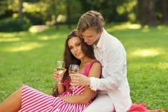 Unga par på picknicken Royaltyfri Fotografi
