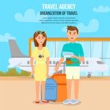 Unga par som reser med flygplanet V?ntande flyg stock illustrationer