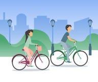 Unga par som rider cyklar runt om staden stock illustrationer