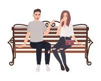 Unga par som tillsammans sitter på gatabänk och samtal Lyckligt förälskat för man som och för kvinna isoleras på vit bakgrund poj stock illustrationer