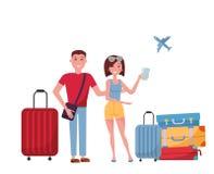 Unga parturister med resväskor och påsar på hjul på vit bakgrund plats på flygplatsen, sökande för information i mobil vektor illustrationer