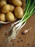 Unga potatisar med salladslökar Arkivfoto