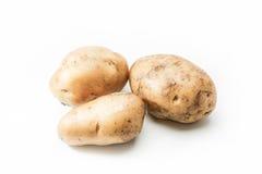 Unga potatisar på vit bakgrund Arkivbilder