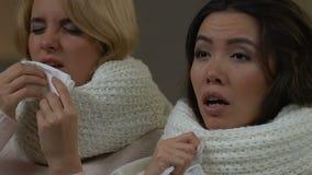 Unga sjuka kvinnor som nyser att sitta tillsammans hemma, säsongsbetonade allergier som är kalla lager videofilmer