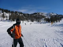 unga skiers Royaltyfri Fotografi