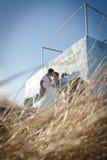 Unga stiliga brud- par som utomhus delar en kyss Royaltyfri Bild