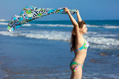 unga strandkvinnor Fotografering för Bildbyråer