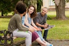 Unga studenter som sitter på att studera för bänk Royaltyfri Fotografi