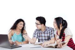 Unga studenter som tillsammans studerar Royaltyfria Bilder