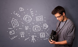 Unga symboler för fotografskyttefotografi Royaltyfria Foton