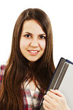 Unga tonårs- flickaholdingböcker Arkivbild