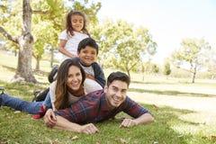 Unga ungar och föräldrar som ligger i högen på gräset, stående royaltyfria bilder