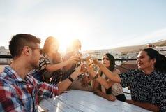 Unga vänner som tycker om samman med drinkar Arkivbilder