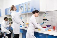 Unga yrkesmässiga forskare som gör experiment i forskningslaboratorium arkivbild
