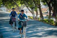 Ungar är kommande till skolan på cyklar Fotografering för Bildbyråer