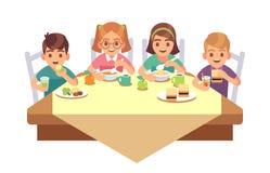 Ungar äter tillsammans Barn som äter snabbmat för lunch för frukost för barn för matställekaférestaurang som lycklig äte stock illustrationer