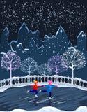 Ungar åker skridskor benches staden räknad stads- vinter för liggandesnowtrees Arkivfoton