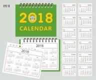 Ungar calendar för vägg- eller skrivbordåret 2018, 2019 royaltyfri illustrationer