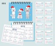 Ungar calendar för vägg- eller skrivbordåret 2018, 2019 vektor illustrationer