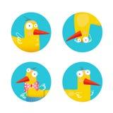 Ungar Duck Funny Icons Set Arkivfoto