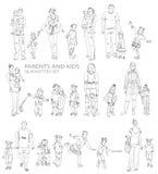 Ungar föräldrar och behandla som ett barn konturer, skissar Arkivfoton