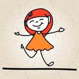 Ungar för abstrakt begrepp för handteckningstecknad film lyckliga Royaltyfria Foton