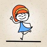 Ungar för abstrakt begrepp för handteckningstecknad film lyckliga Royaltyfria Bilder