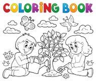 Ungar för färgläggningbok som planterar trädet stock illustrationer