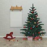 Ungar för nytt år hyr rum, julgranen, gåvor, 3D Royaltyfria Bilder