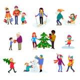 Ungar för tecken för familj för tecknad film för vektor för vinterferie spelar i vintertid med xmas-trädet och gåvor för att fira stock illustrationer