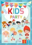 Ungar festar designmallen, för partiberöm för barn den lyckliga reklambladet, banret eller broschyren, mallen för advertizingbros royaltyfri illustrationer
