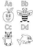 ungar för 1 alfabetfärgläggning Arkivfoton
