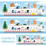 Ungar förbryllar skeppet för att spot de 12 skillnaderna Arkivbild