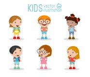 Ungar går till skolan, tillbaka till skolan, gulliga tecknad filmbarn, lyckliga barn royaltyfri illustrationer