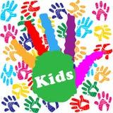 Ungar Handprint indikerar färgglade barn och människan Royaltyfri Bild