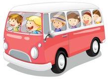 Ungar i en buss Royaltyfria Foton