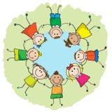 Ungar i en cirkel royaltyfri illustrationer