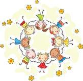 Ungar i en cirkel Arkivbild