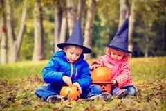 Ungar i halloween dräktlek på hösten parkerar Arkivfoto