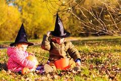 Ungar i halloween dräktlek på hösten parkerar Arkivfoton