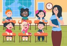 Ungar i klassrum L?rare och elever i grundskola, gulliga tecknad filmpojkar och studera f?r tecken f?r flickor lyckligt stock illustrationer