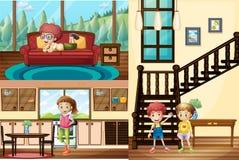 Ungar i olika rum av huset vektor illustrationer